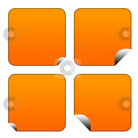Blank orange stickers or labels stock photo, Blank orange stickers or labels isolated on white background. by Martin Crowdy