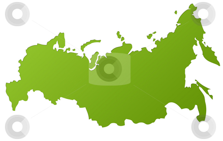 Map of Russia stock photo, Map of Russia in gradient green, isolated on white background. by Martin Crowdy