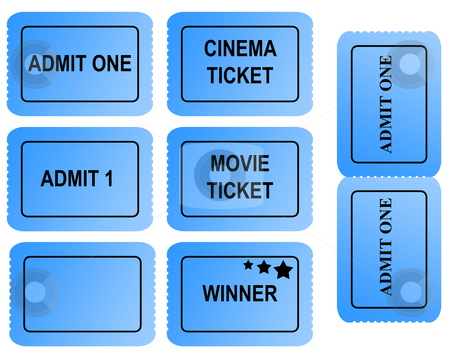 Set of blue tickets stock photo, Set of blue tickets with serrated edges and copy space isolated on white background. by Martin Crowdy