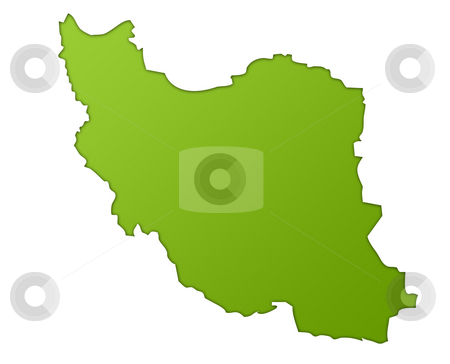 Iran map stock photo, Iran map in gradient green, isolated on white background. by Martin Crowdy