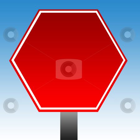 Hexagonal warning sign stock photo, Red hexagonal warning sign with copy space and blue sky background. by Martin Crowdy