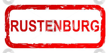Used Rustenburg city stamp stock photo, Used red Rustenburg city travel passport stamp, isolated on white background. by Martin Crowdy