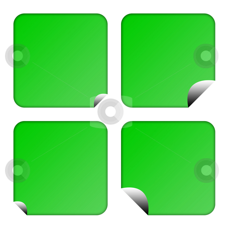 Green eco labels or buttons stock photo, Set of four blank green eco labels or buttons with upturned corners, isolated on white background. by Martin Crowdy