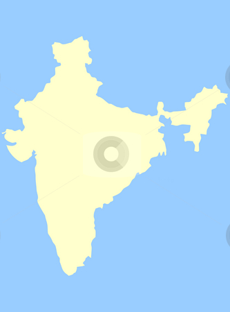 Map of India stock photo, Map of India isolated on a blue background. by Martin Crowdy