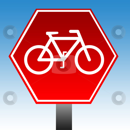 No cycling sign stock photo, Red no cycling warning sign with blue sky background. by Martin Crowdy
