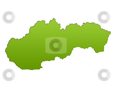 Slovakia map stock photo, Slovakia map in gradient green, isolated on white background. by Martin Crowdy