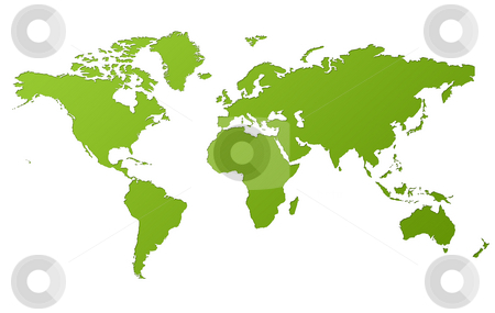 Map of World stock photo, Map of World in gradient green, isolated on white background. by Martin Crowdy