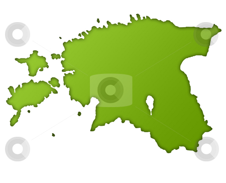 Estonia map stock photo, Estonia map in gradient green, isolated on white background. by Martin Crowdy