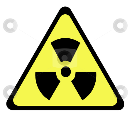 Radioactive sign stock photo, Yellow triangular radioactive sign, isolated on whte background. by Martin Crowdy