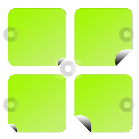 Green eco labels or stickers stock photo, Set of four green eco labels or stickers with upturned corners, isolated on white background. by Martin Crowdy