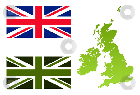 Union Jack eco flag and England map stock photo, Map of United Kingdom with green eco flag, isolated on white background. by Martin Crowdy