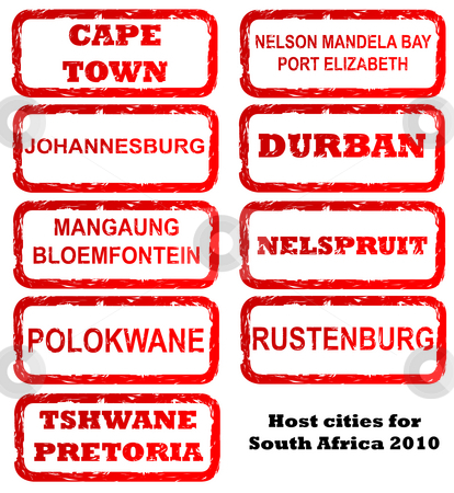 South Africa host city stamps stock photo, Stamps of all host cities and areas for 2010 football or soccer in South African, isolated on white background. by Martin Crowdy