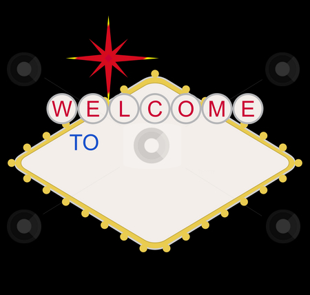 Blank welcome to Las Vegas sign stock photo, Blank welcome to Las Vegas neon sign at night, isolated on black background. by Martin Crowdy