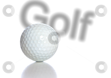 Golf stock photo, A white golf ball with a reflection and the word golf behind it, isolated against a white background. by Richard Nelson