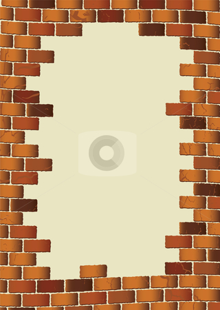 Grunge brown brick wall blank stock vector clipart, Brown grunge brick wall with blank hole for text by Michael Travers
