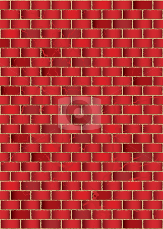 Grunge red brick wall stock vector clipart, Grunge red brick wall background or wallpaper with shadow effect by Michael Travers
