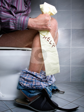 WC Help stock photo, Conceptual view of digestive problems like constipation or diarrhea. by Sinisa Botas
