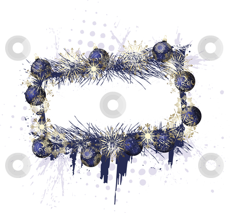 Grunge Christmas Purple Frame stock vector clipart, Grunge christmas purple decorative frame with baubles on a white background by Karima Lakhdar