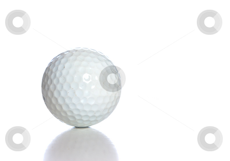 Golf Ball stock photo, A white golf ball with a reflection, shot against a white background. by Richard Nelson