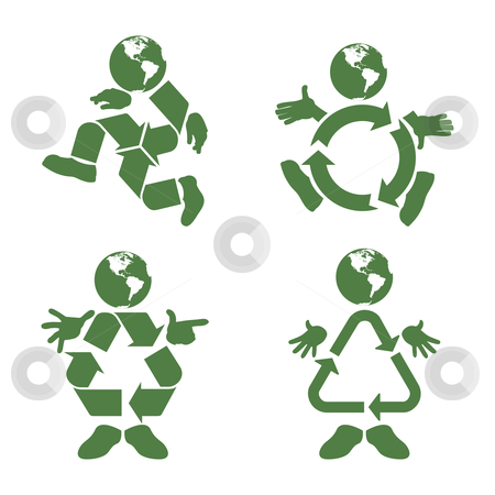 Recycle Character stock vector clipart, Vector illustration of a green character with a recycle symbol body by Karima Lakhdar