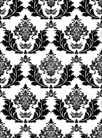 Seamless Damask Pattern  stock vector clipart, Vector illustration of a black seamless damask pattern by Karima Lakhdar