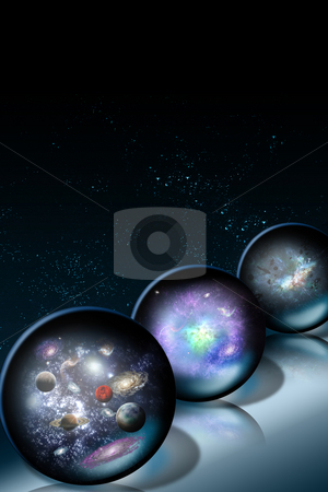 Space Glass Balls stock photo, Space glass balls on a dark background by Karima Lakhdar