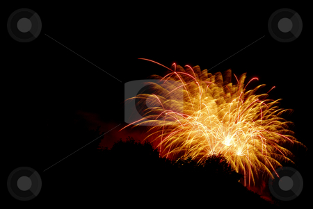 Fireworks stock photo, Fireworks against a black sky with trees silhouetted. by Christy Thompson