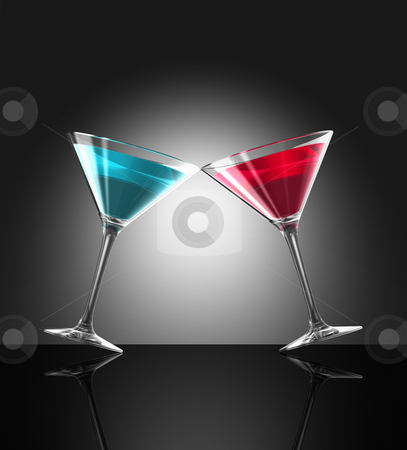 Red and blue cocktail glasses stock photo, Two transparent blue and red cocktail glasses reflecting on bar surface. three dimensional illustration by Laurent Davoust