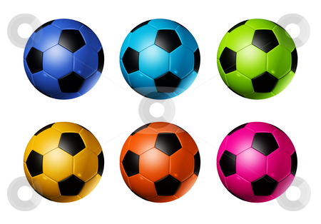 Colored soccer football balls stock photo, Colored 3D soccer balls isolated on white - world football cup 2010 by Laurent Davoust