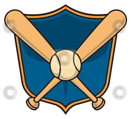Baseball shield stock vector clipart, Vector baseball icon with two bats and a ball over a shield. by fractal.gr