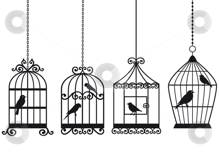 Vintage birdcages with birds stock vector clipart, Set of ornamental vintage birdcages with birds, vector background by Beata Kraus
