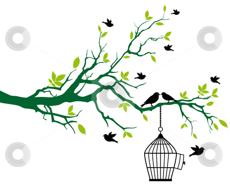 Spring tree with birdcage and kissing birds stock vector clipart, Green spring tree with open birdcage and kissing birds, vector background by Beata Kraus
