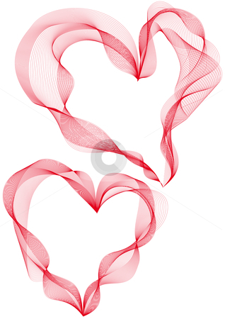 Abstract heart designs, vector stock vector clipart, Two abstract ribbon hearts, vector background by Beata Kraus