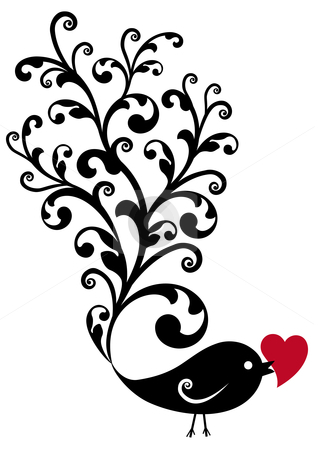Ornamental bird with red heart stock vector clipart, Black ornamental bird with red heart, vector background by Beata Kraus