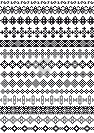 Pixel borders, vector stock vector clipart, Set of pixel dividers, vector pattern by Beata Kraus