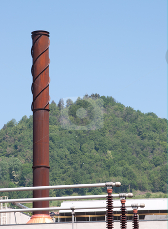 Rusty Chimney stock photo, Electrical Power Station, with rusty Chimney detail by Alberto Rigamonti