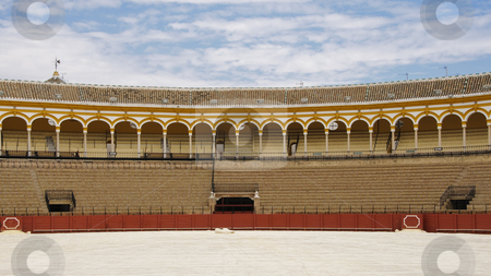 Seville bullring stock photo, Plaza de Toros de la Real Maestranza in Seville is one of the largest and oldest bullrings in Spain; building works started back in year 1758. Photo taken on the 26th of September, 2009. by Alessandro Rizzolli