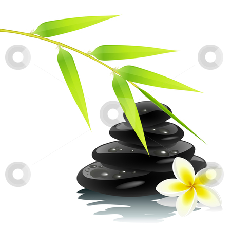 Zen ambiance stock vector clipart, Zen ambiance with bamboo and black stones by Laurent Renault