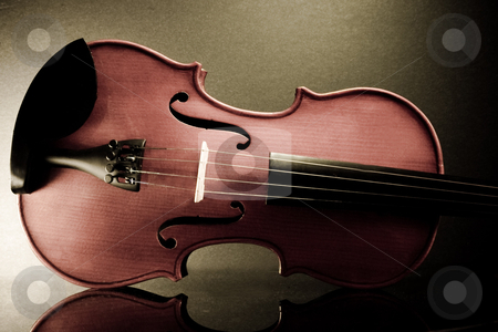 Violin stock photo, Voilin reflection on a mirror with an old look. by Waseef Akhtar
