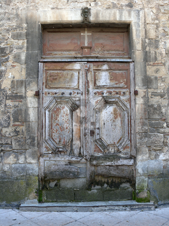 Heavens gate stock photo, Old, weathered wooden church door by Herb Allgaier
