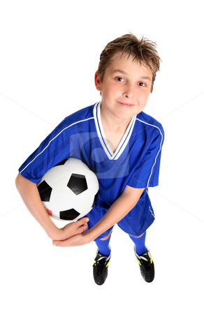 Boy holding a soccer ball stock photo, A smiling boy in soccer uniform ready for a game of soccer.  White background. by Leah-Anne Thompson