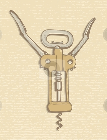 Corkscrew stock vector clipart, Corkscrew, wine bottle opener sketch on beige paper textured background. by fractal.gr