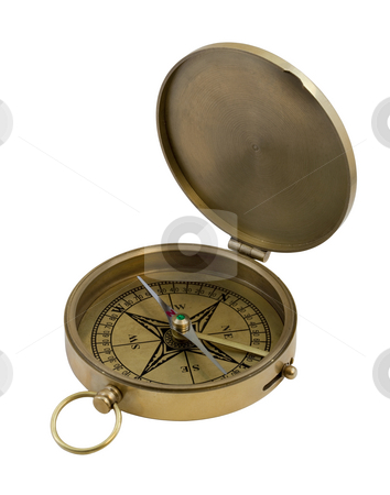Vintage brass compass stock photo, Vintage brass pocket compass isolated on white by Marek Uliasz