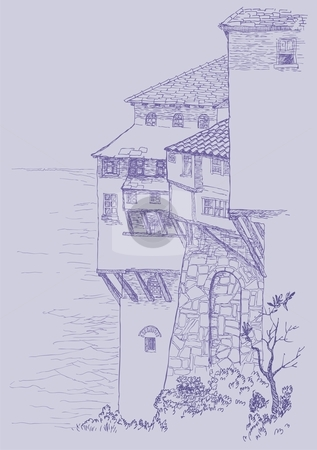 Old buildings stock vector clipart, Pen and ink sketch of old buildings by the sea. by fractal.gr