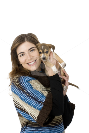 Woman with a puppy stock photo, Portrait of a girl embracing her best friend, A beautiful and adorable puppy by ikostudio
