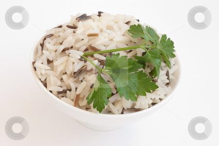 Bowl with boiled rice stock photo, White ceramic bowl with boiled rice isolated on white by Svetlana Starkova