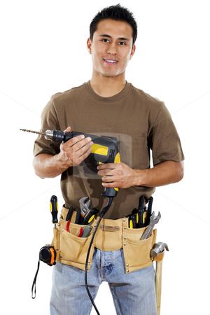Handyman stock photo, Stock image of handyman over white background by iodrakon