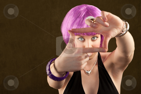 Woman with Purple Hair stock photo, Portrait of woman with shiny purple hair by Scott Griessel