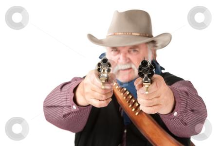 Big cowboy pointing pistols stock photo, Big cowboy pointing pistols on white background by Scott Griessel