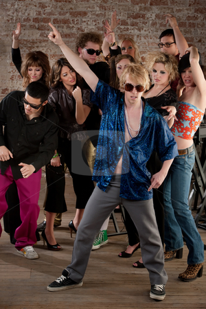 Disco dancing pose stock photo, Disco dancing pose at a 1970s Disco Music Party by Scott Griessel